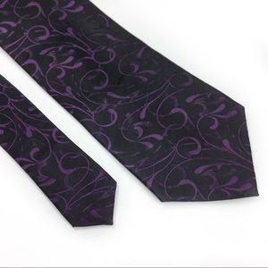 3/$15 Alfani Black w/Purple Design Men Dress Tie.
